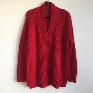 Ralph Lauren red Vneck chunky knitted sweater XL